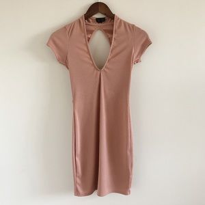Topshop Ribbed Cutout Tie-Back Mini Dress US 4